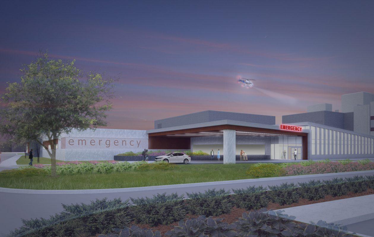 Artist rendering of new ECMC emergency department.