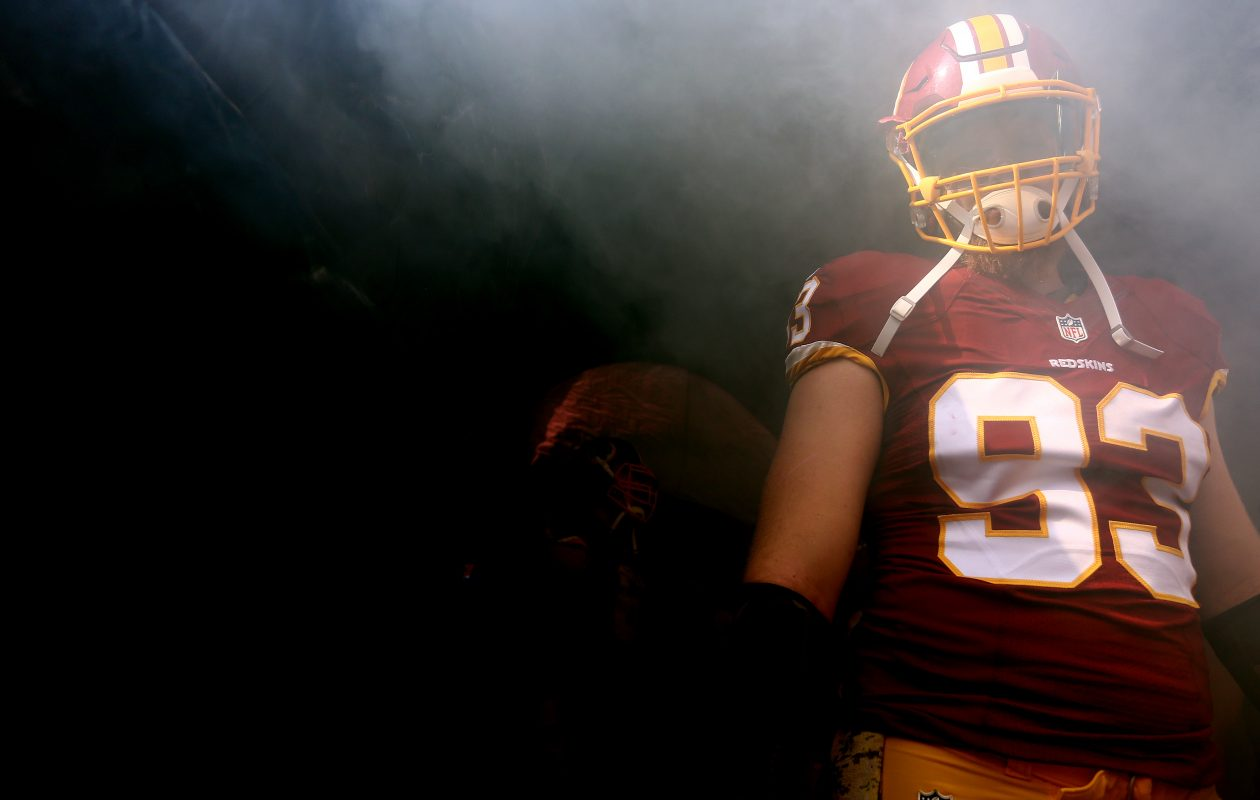 Redskins Trent Murphy #93 waits to be introduced before playing the New Orleans Saints on November 15, 2015 at FedExField in Landover, Maryland. (Photo by Matt Hazlett/Getty Images)