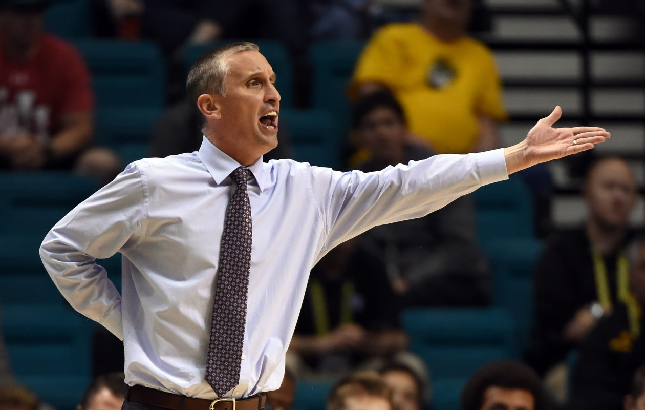 LAS VEGAS, NV - MARCH 09:  Head coach Bobby Hurley of the Arizona State Sun Devils reacts during a first-round game of the Pac-12 Basketball Tournament against the Oregon State Beavers at MGM Grand Garden Arena on March 9, 2016 in Las Vegas, Nevada. Oregon State won 75-66.  (Photo by Ethan Miller/Getty Images)