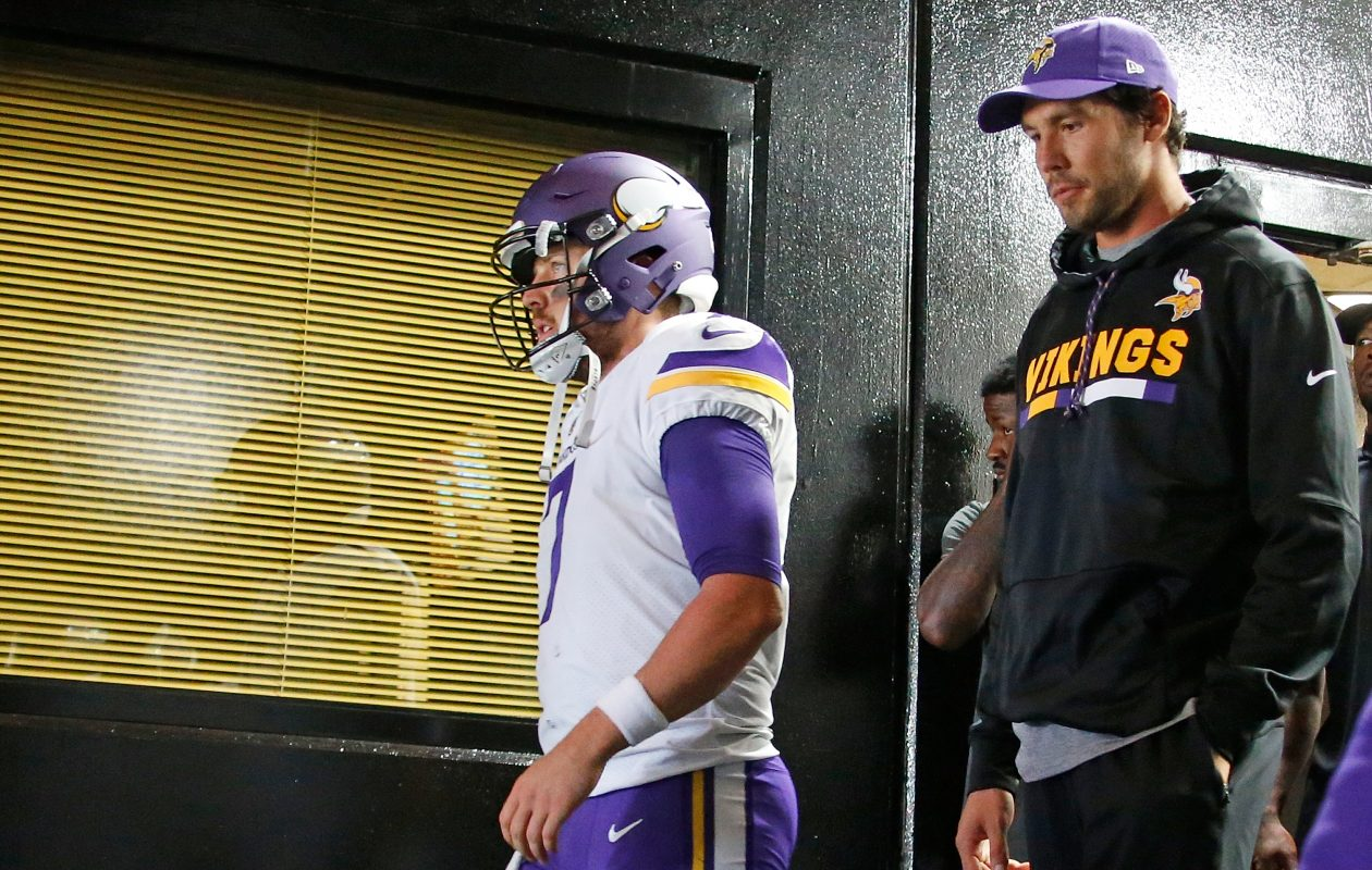 Vikings quarterbacks Case Keenum, left, and Sam Bradford could both have new homes in 2018. (Getty Images)