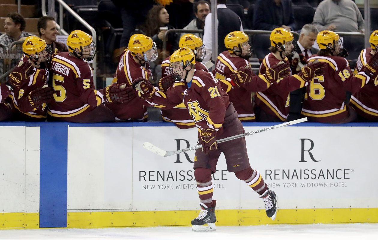 Casey Mittelstadt had 30 points in 34 games for Minnesota this season. (Getty Images)