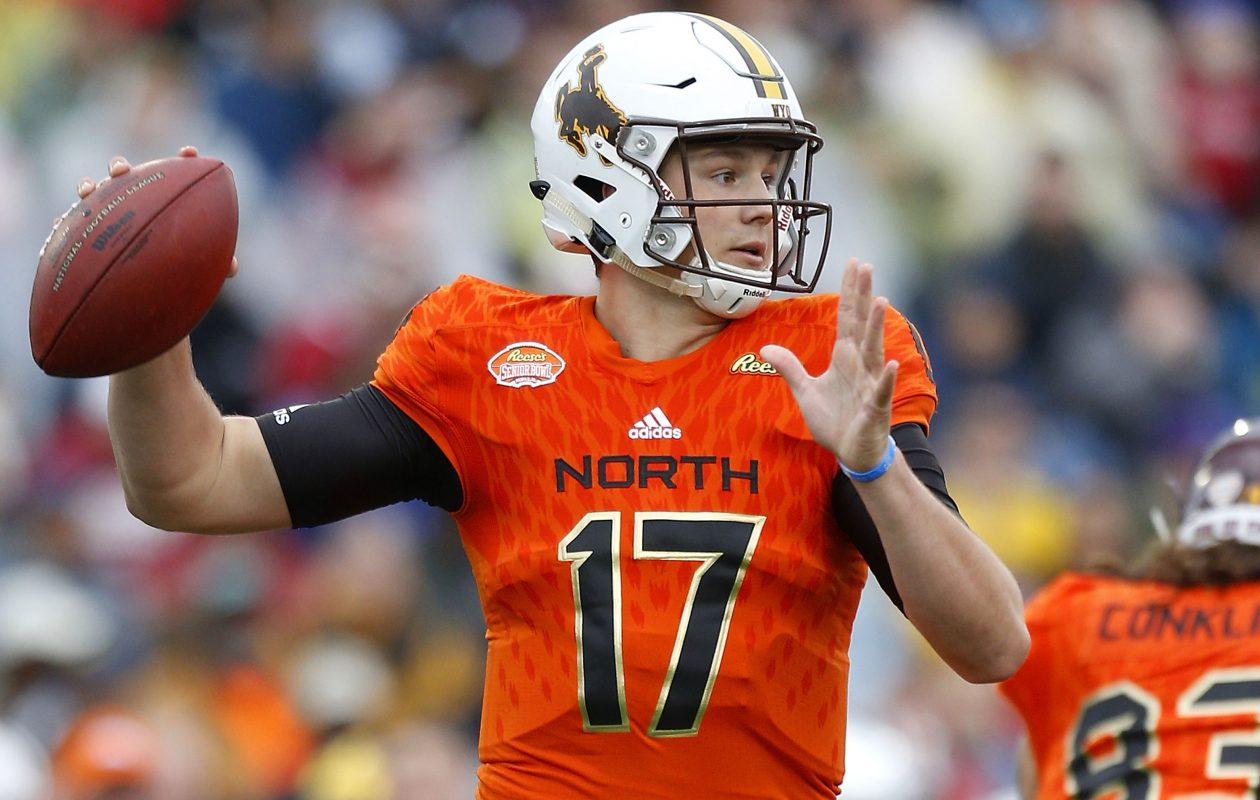 Wyoming quarterback Josh Allen is a popular mock draft pick for the Buffalo Bills. (Getty Images)