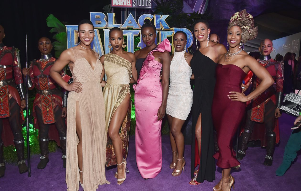 Former Canisius College women's basketball standout Jenel Stevens, second from right, with her fellow 'Dora Milaje' actors at the Los Angeles world premiere of Black Panther. (Getty Images)