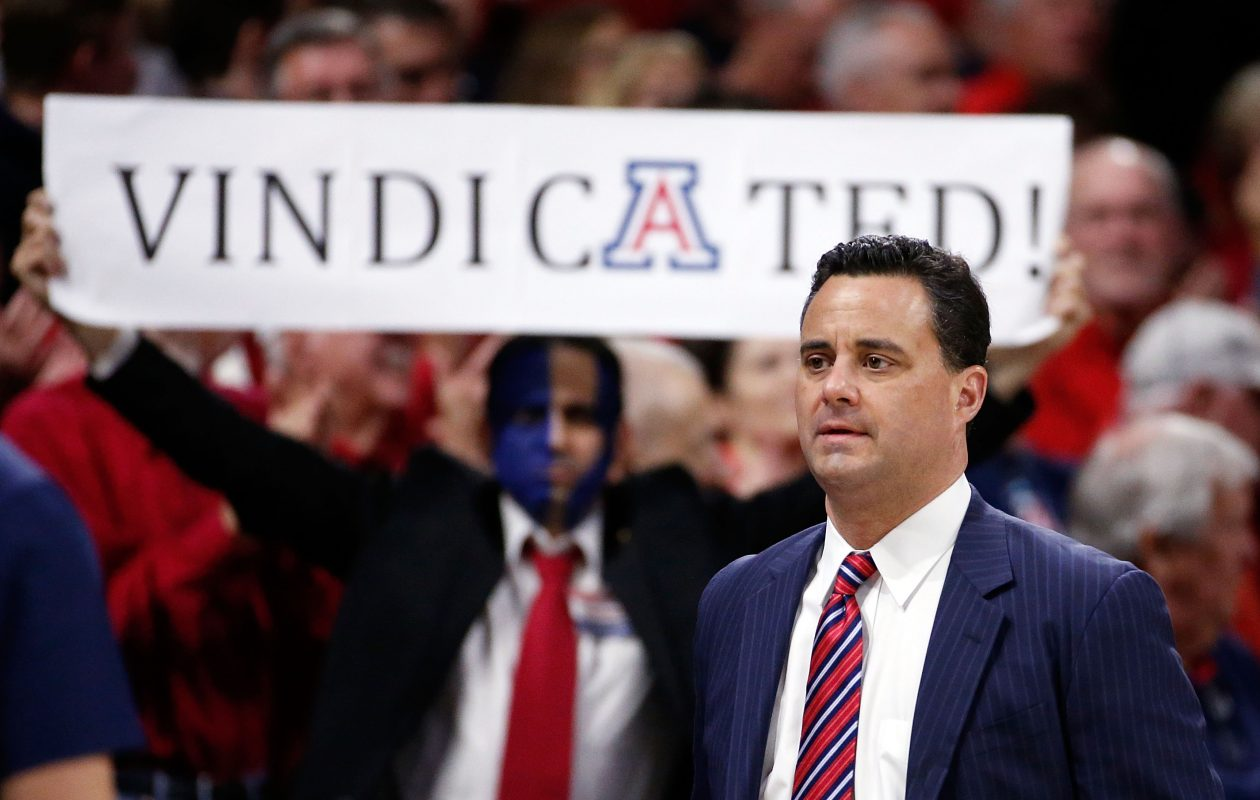 Arizona coach Sean Miller had plenty to say about his team and the UB Bulls, but not much about the controversy surrounding him. (Getty Images)