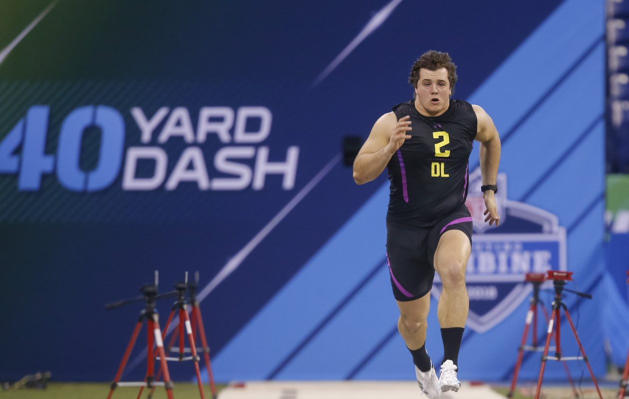 Florida defensive lineman Taven Bryan runs in the 40-yard dash at the NFL Scouting Combine at Lucas Oil Stadium on March 4, 2018, in Indianapolis. (Michael Hickey/Getty Images)