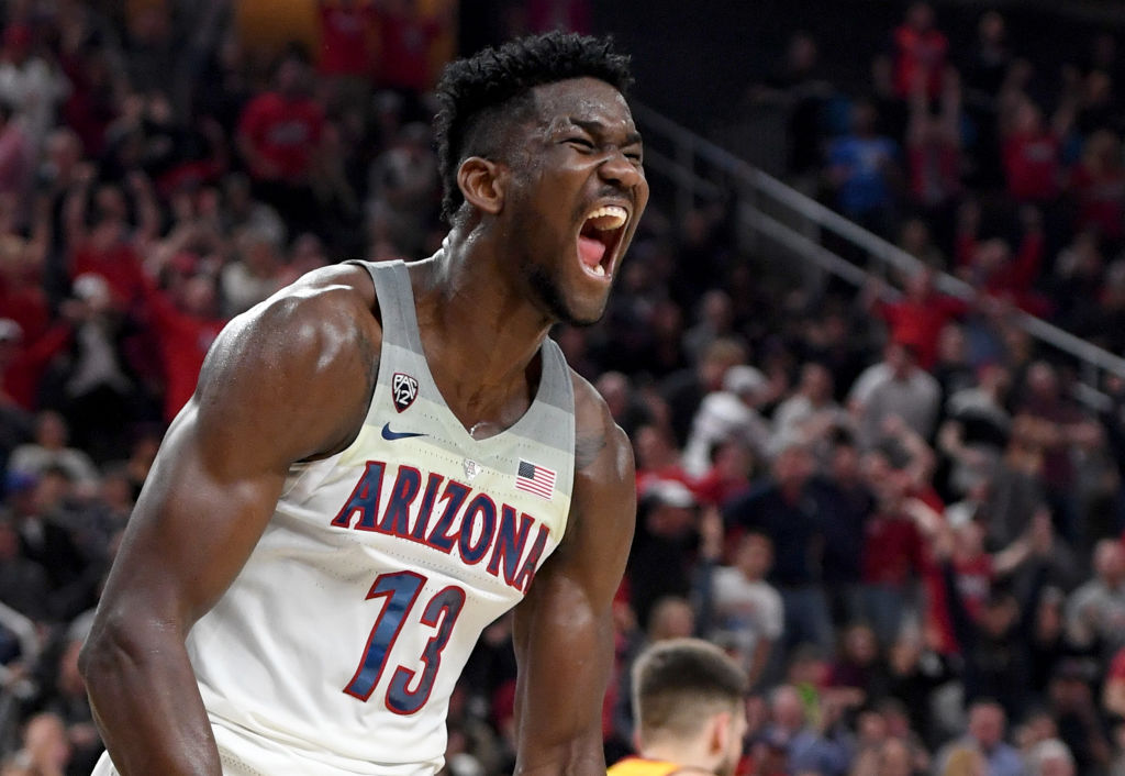 Deandre Ayton of Arizona reacts after dunking against USC during the championship game of the Pac-12 tournament.  (Ethan Miller/Getty Images)