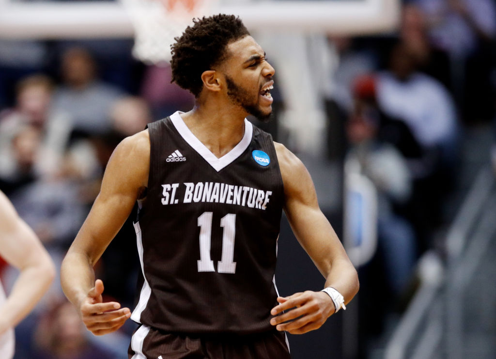 Courtney Stockard of St. Bonaventure celebrates a big play in the second half. (Getty Images)