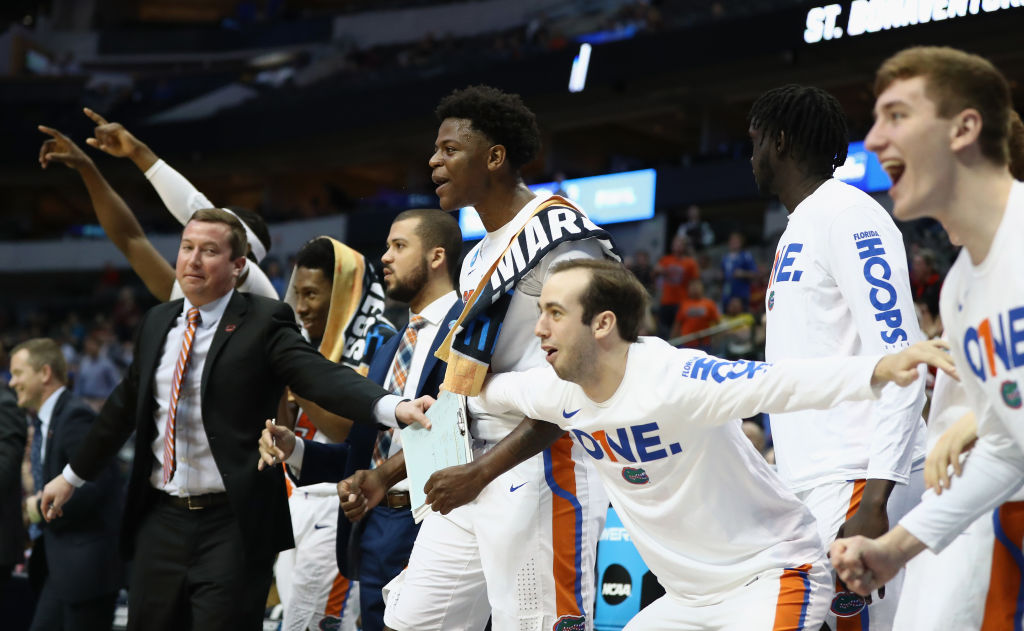 Florida celebrates during the second half in the first round of the 2018 NCAA Men's Basketball Tournament at American Airlines Center on March 15, 2018 in Dallas, Texas. (Getty Images)