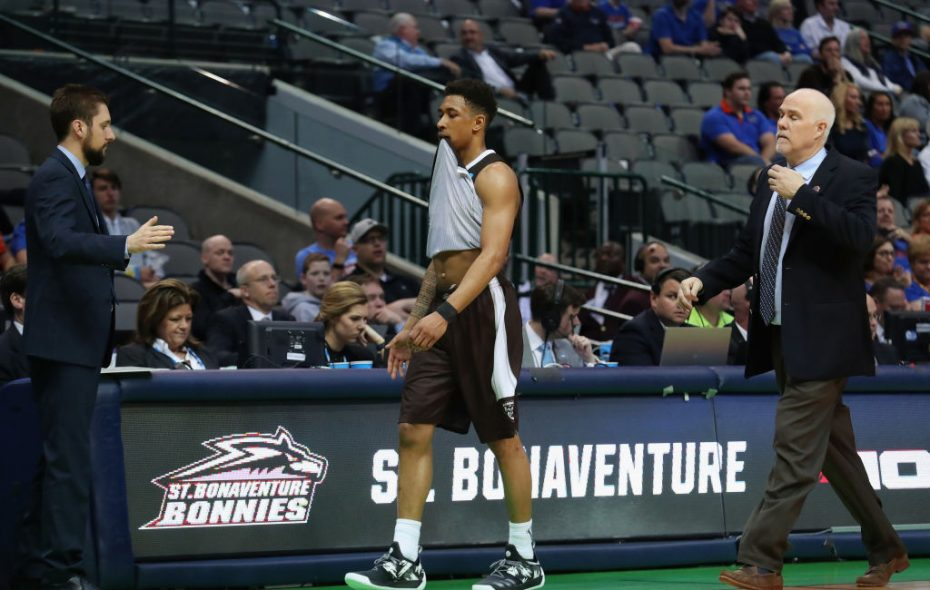 Jaylen Adams of the St. Bonaventure Bonnies reacts as he walks off the court in the second half. (Getty Images)