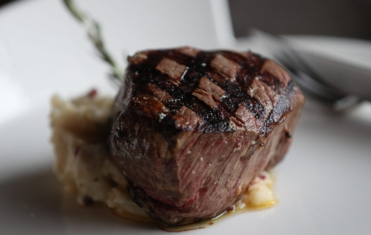Greystone's filet mignon is a prime 8-ounce tenderloin of Roseda Farm black Angus beef from Monkton, Md., which is cast-iron roasted with herbs and sea salt. (Sharon Cantillon/Buffalo News)