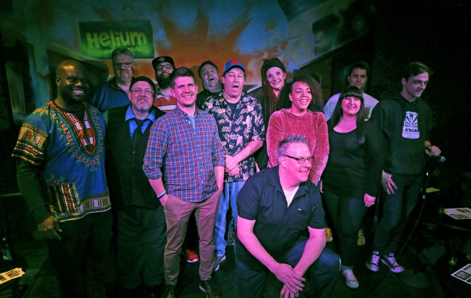 "The cast of Helium Comedy Club's Comedy 101 class poses during its ""graduation performance."" (Robert Kirkham/Buffalo News)"
