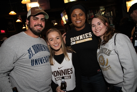 Smiles at St. Bonaventure watch party in Thirsty Buffalo
