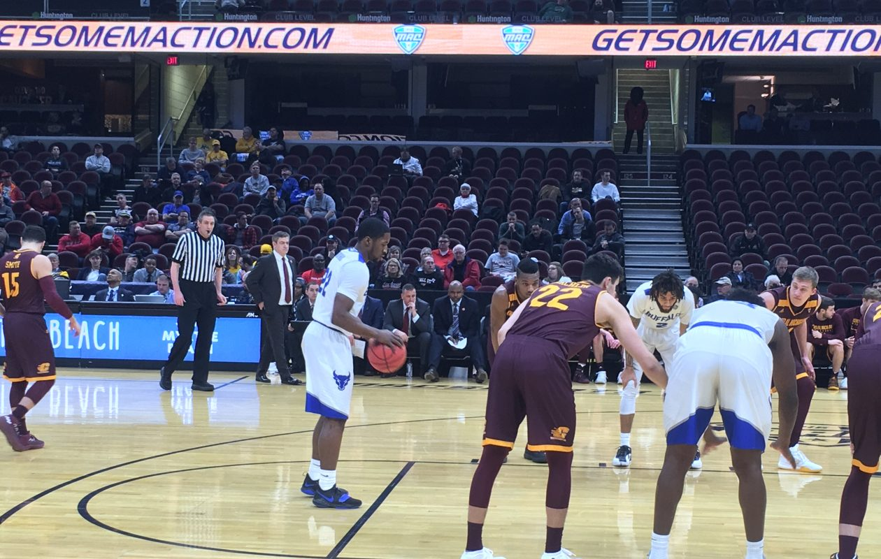 UB's Dontay Caruthers at the foul line. (Buffalo News)
