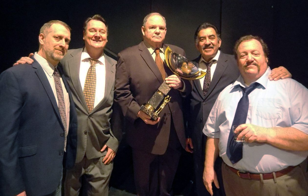John Kreuzer, left, appears with Richard Lambert, Mark Donahue, Victor Morales and Greg Natale in the New Phoenix Theatre's production of 'That Championship Season.'
