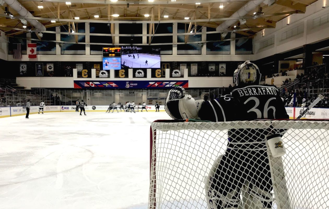 While playing for Holy Cross, goalie Paul Berrafato faced Canisius in HarborCenter. (Nick Veronica/News file photo)