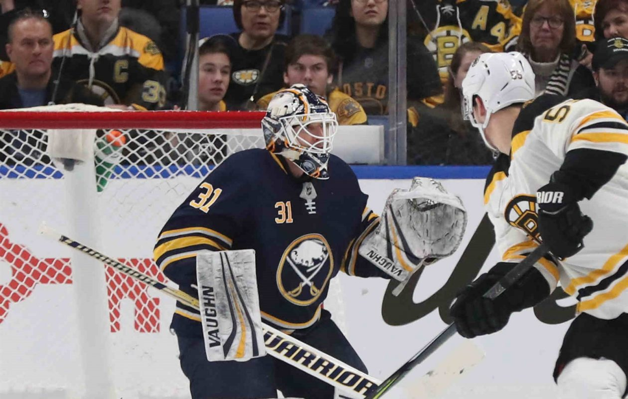 Sabres goaltender Chad Johnson will start against Toronto. (James P. McCoy/Buffalo News)