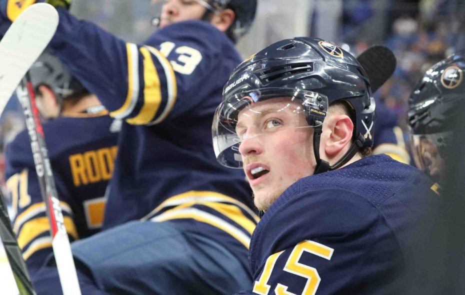 A pensive Jack Eichel checks the scoreboard in the first period Wednesday (James P. McCoy/Buffalo News).