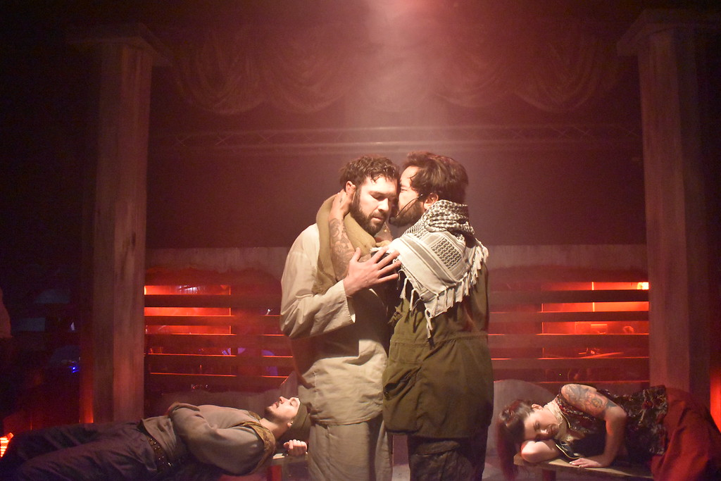 Christopher Teal, left, as Jesus and Anthony Alcocer as Judas, star in 'Jesus Christ Superstar,' presented by American Repertory Theatre of Western New York. (Photo by Katherine Butler.)