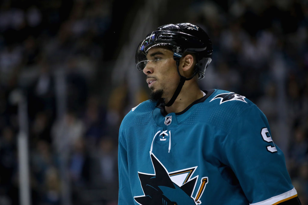 Evander Kane erupted for the Sharks in their 7-4 win at Calgary (Getty Images).