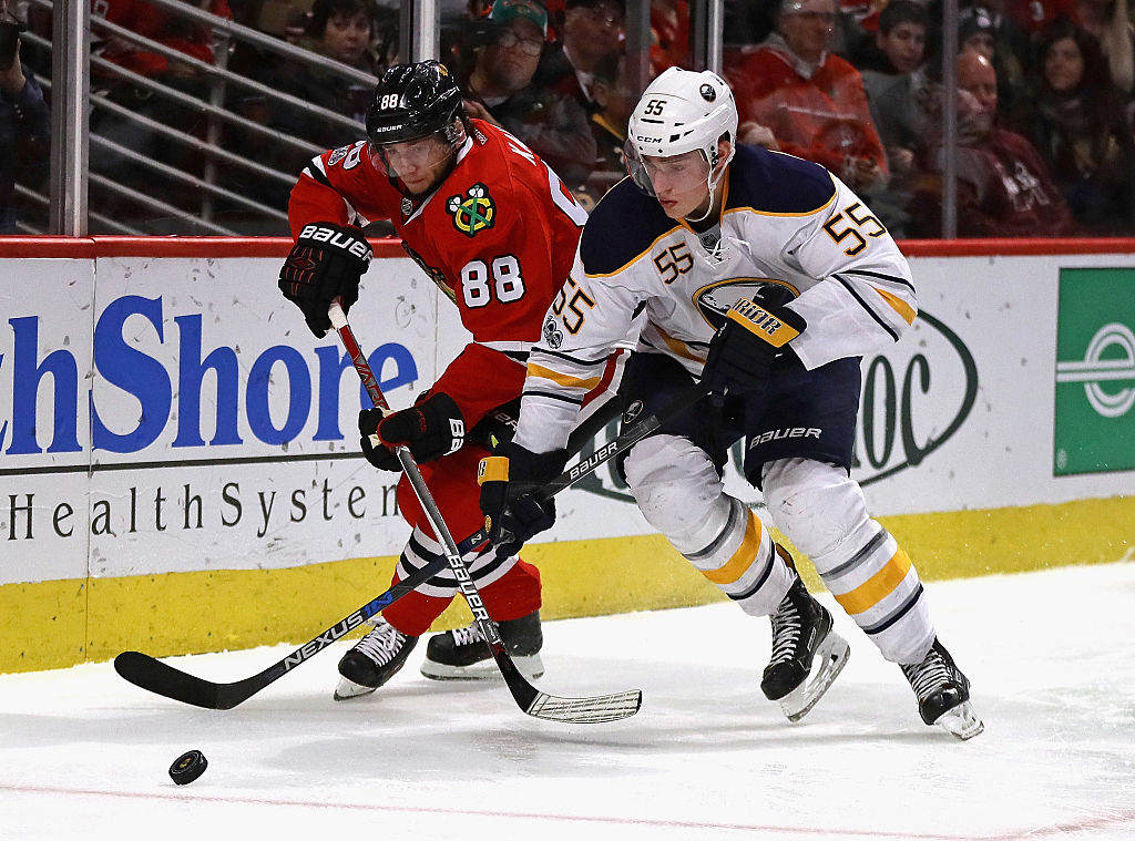 Patrick Kane (88) will get a lot of attention today from Rasmus Ristolainen and the Sabres (Getty Images).
