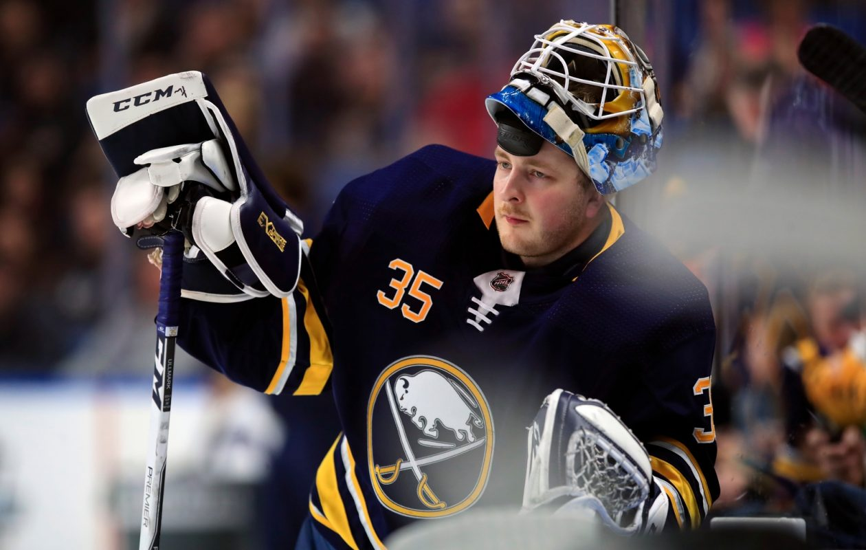 Linus Ullmark gets a breather during his only start in Buffalo this season, a 3-1 win Jan. 12 over Columbus (Harry Scull Jr./Buffalo News).