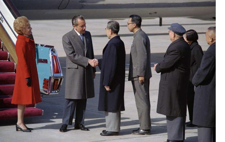 President Richard Nixon arrives in Beijing in 1972. (Nixon Foundation photo.)