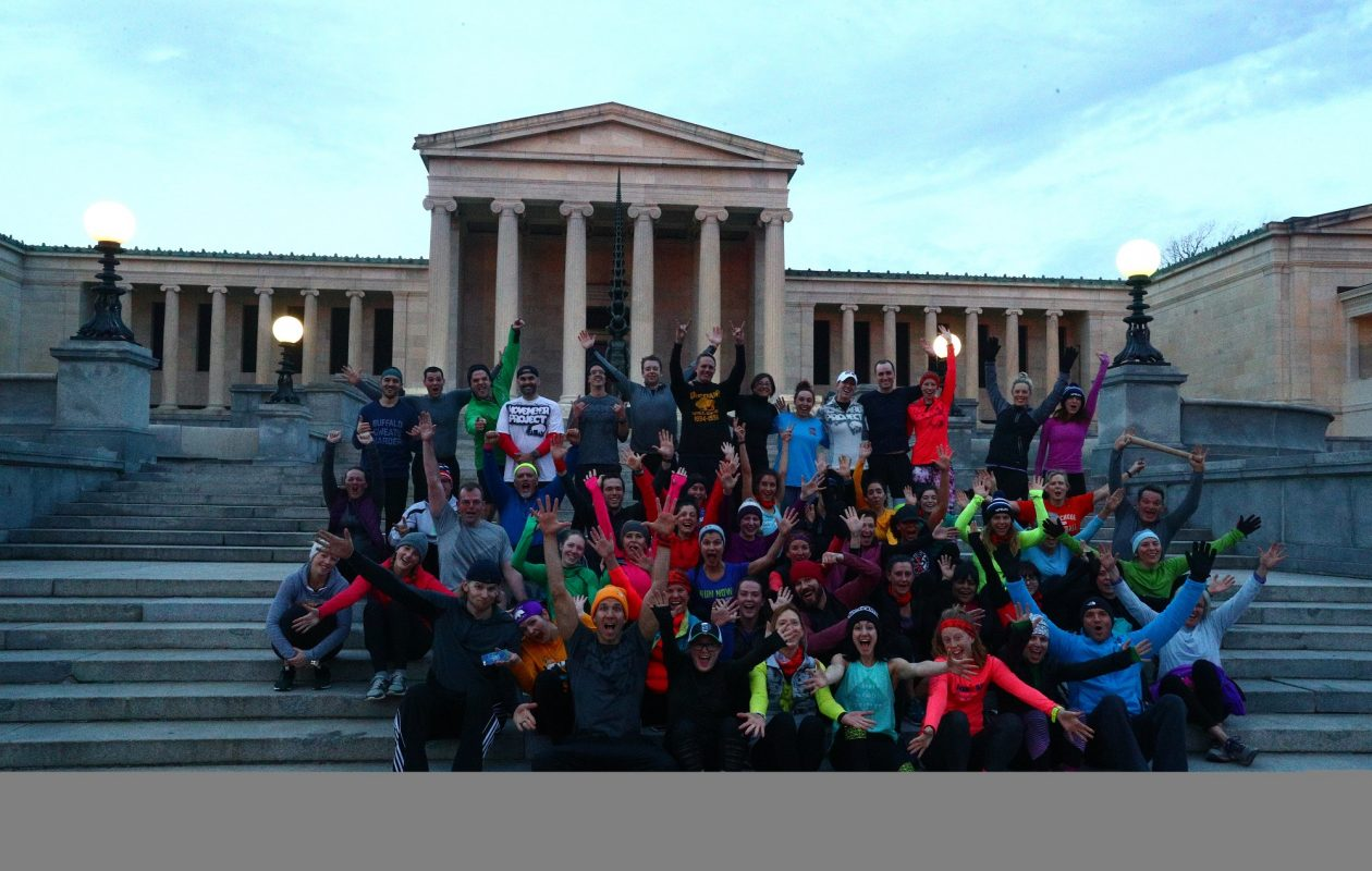November Project Buffalo began outdoor fitness classes last June that run year round and start at 6:10 a.m. sharp on Wednesdays, regardless of weather, on the back steps of the Albright-Knox Art Gallery for a workout in and around Delaware Park. (John Hickey/Buffalo News)