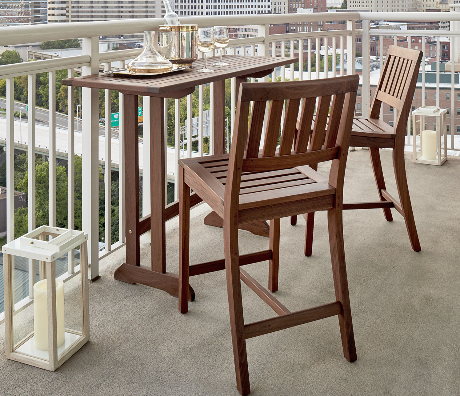 condo outdoor furniture dining table balcony. There Are Stylish Outdoor Dining Tables For Balconies And Other Smaller Spaces. (Richmond Table, $649 , Opal Counter-height Chair, $304, Condo Furniture Table Balcony