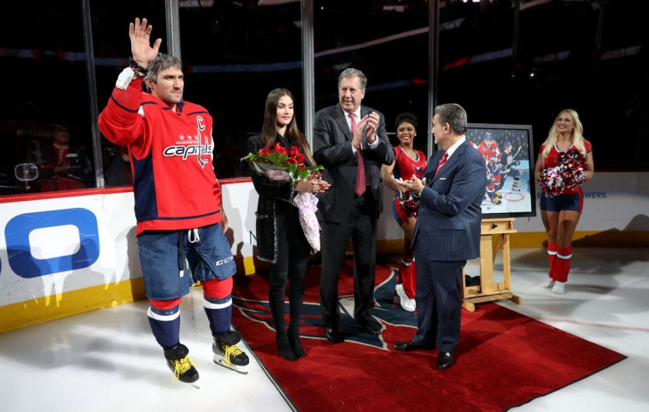 Alex Ovechkin was honored by the Capitals during a pregame ceremony Friday night for scoring his 600th career goal earlier this week (Getty Images).