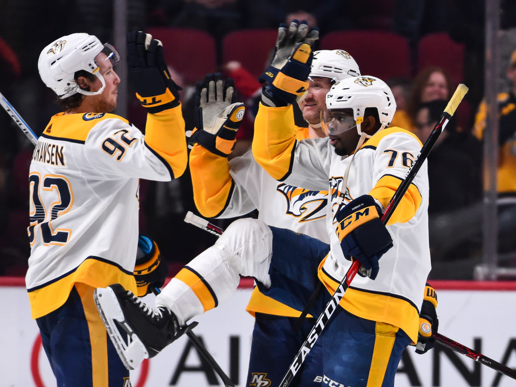 P.K. Subban (76), Ryan Johansen (92) and the Predators are having a good time racing to the top of the Western Conference standings.(Getty Images)