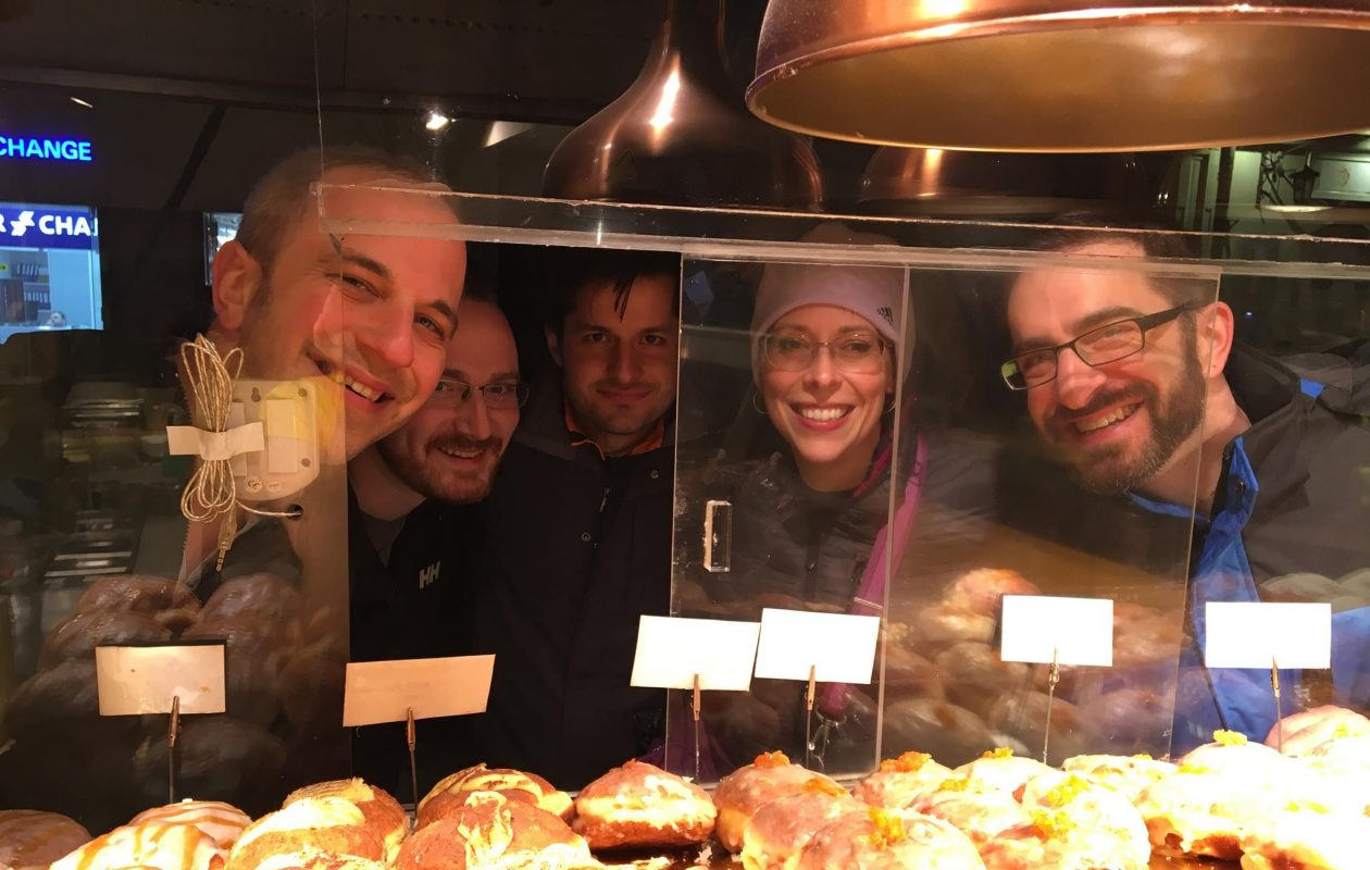 Members of the Buffalo Philharmonic Orchestra wind octet enjoyed some genuine Polish paczki this week during its tour in Poland. (Photo courtesy Buffalo Philharmonic Orchestra)