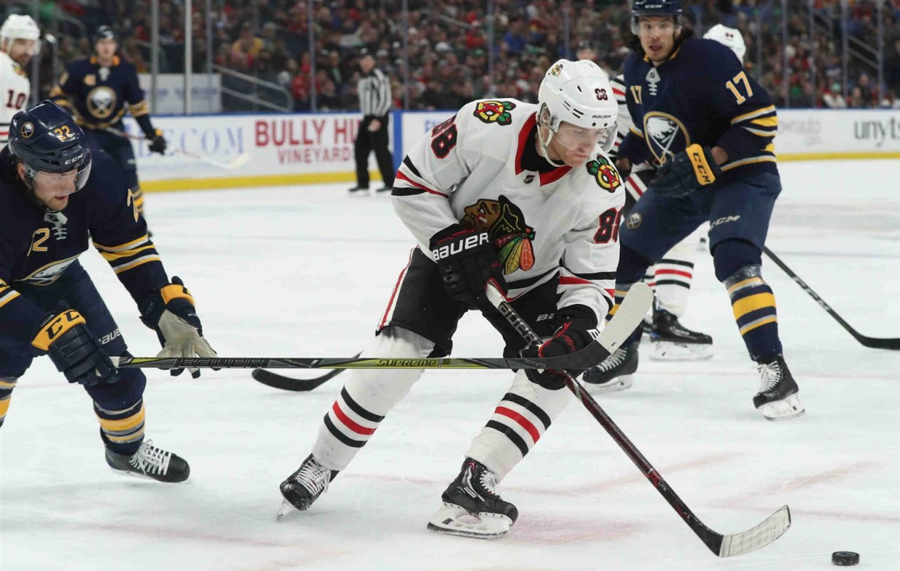 'It's very humbling,' Patrick Kane said after the latest defeat dropped the Blackhawks to 6-15-1 in their last 22 games. 'Hopefully we can look back on this and somehow say it's a good thing.' (James P. McCoy/Buffalo News)