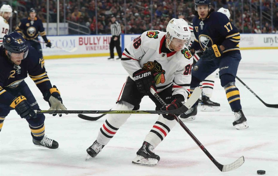 """""""It's very humbling,"""" Patrick Kane said after the latest defeat dropped the Blackhawks to 6-15-1 in their last 22 games. """"Hopefully we can look back on this and somehow say it's a good thing."""" (James P. McCoy/Buffalo News)"""