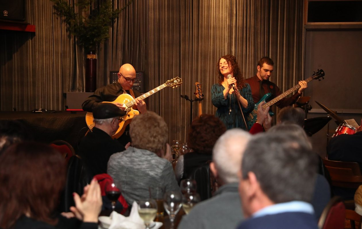 DeeAnn DiMeo Tompkins and her band perform Valentine's Day jazz songs, including songs made famous by Billie Holiday at Pausa Art House. Pausa is one of several local venues to feature cabaret. (Sharon Cantillon/Buffalo News)