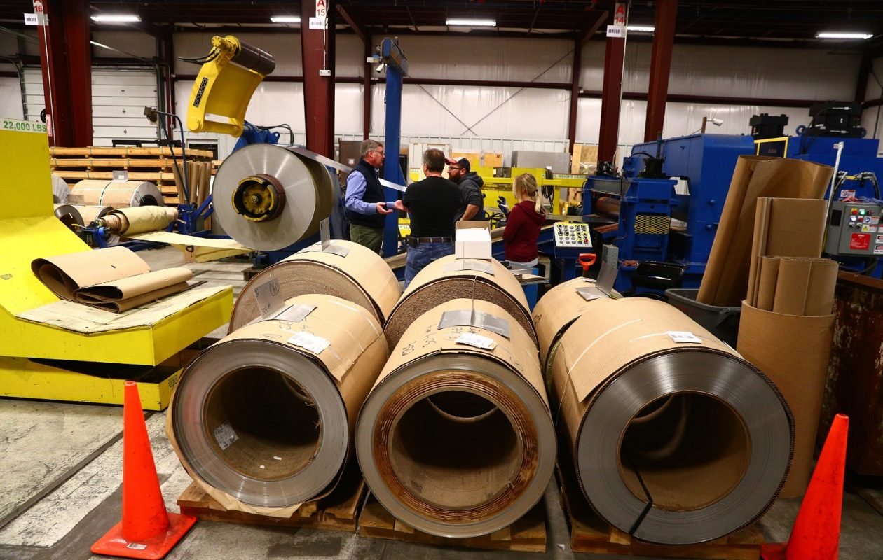 Steel coils at Rigidized Metals, 658 Ohio St., in Buffalo. (John Hickey/Buffalo News)