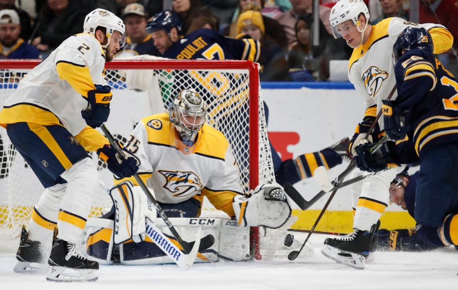 Predators goalie Pekka Rinne made 35 saves to blank the Sabres March 19 in KeyBank Center (Harry Scull Jr./Buffalo News).