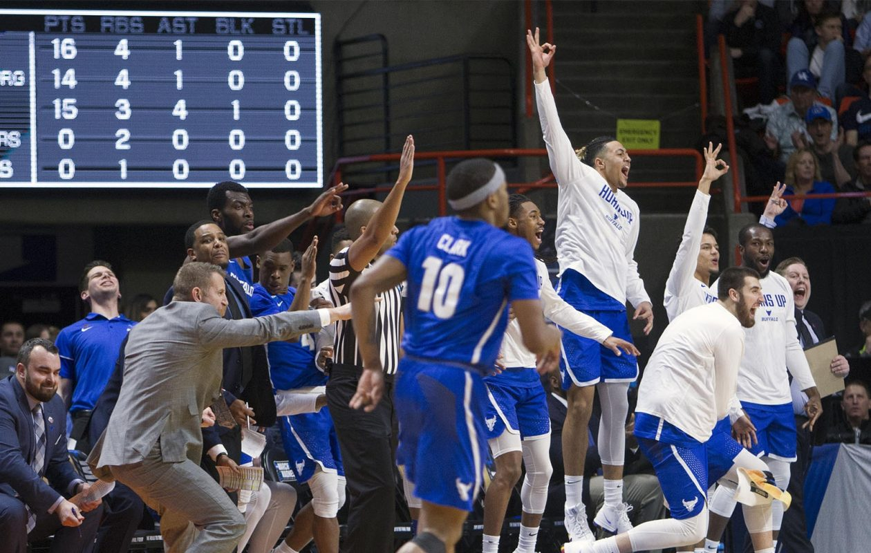 Buffalo's bench explodes after a 3-pointer that started to distance them from Arizona in the NCAA Tournament's West Regional on Thursday, March 15, 2018, at Taco Bell Arena in Boise, Idaho. Buffalo advanced, 89-68. (Darin Oswald/Idaho Statseman/TNS)