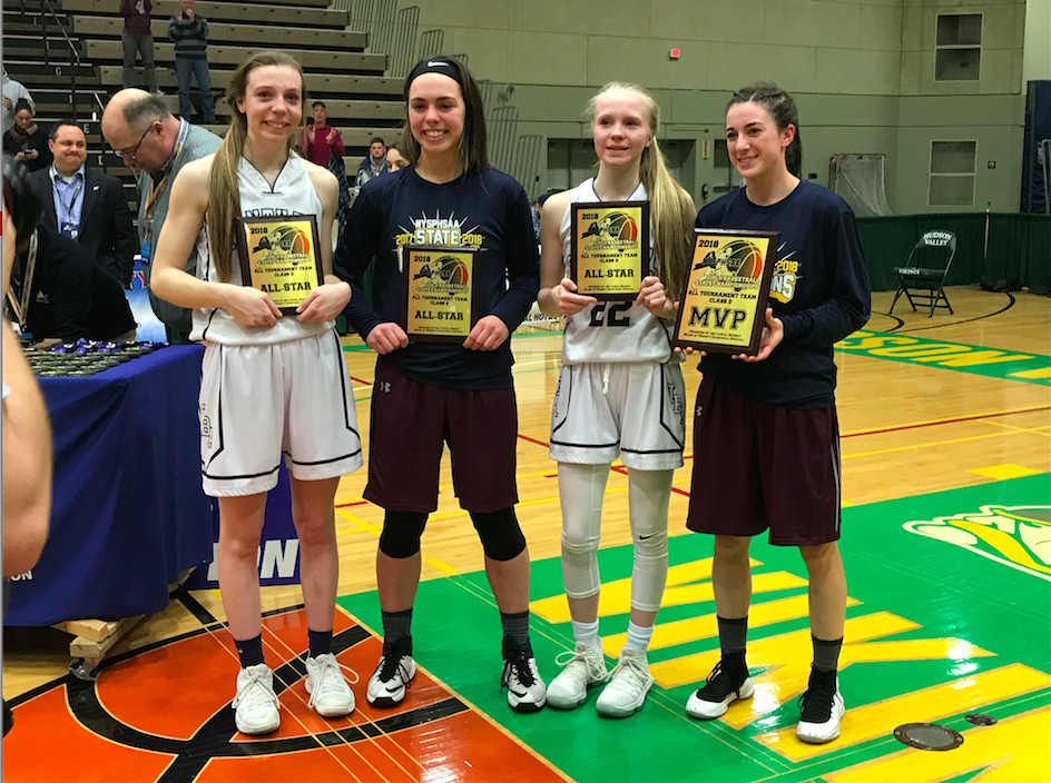 Allyson Haskell, far left, and sister Danielle, second from right, were named to the NYSPHSAA Class D all-tournament team following Franklinville's 54-51 overtime loss to Delaware Academy in the championship.