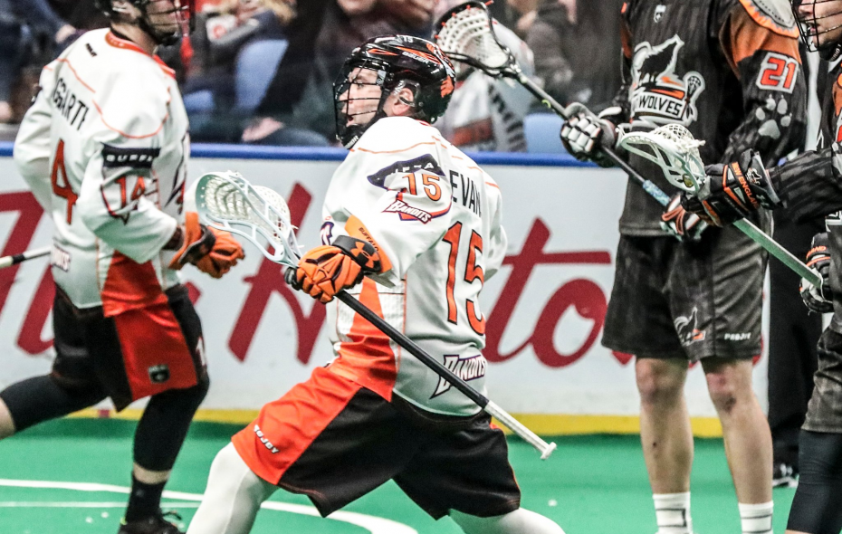 Bandits player Shawn Evans celebrates after scoring a goal in the first quarter at KeyBank Center on March 31, 2018.  (James P. McCoy/News file photo)