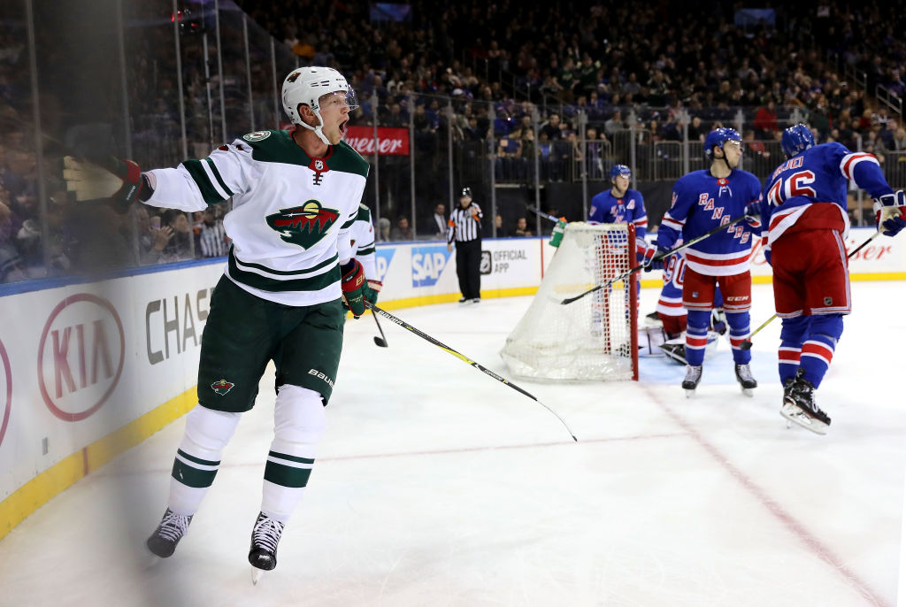 Eric Staal has done a lot of celebrating of late for the Wild (Getty Images).