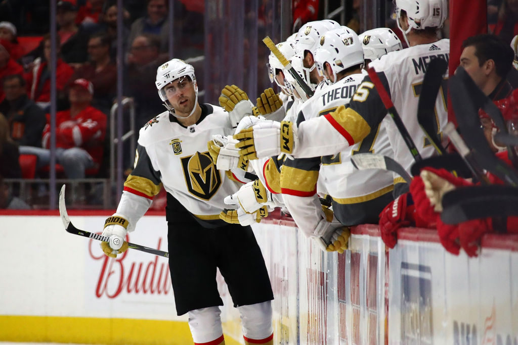 fb7025b2d84 Teammates give it up to Syracuse native Alex Tuch after the Vegas winger  scored his 13th goal of the season Thursday in Detroit (Getty Images).