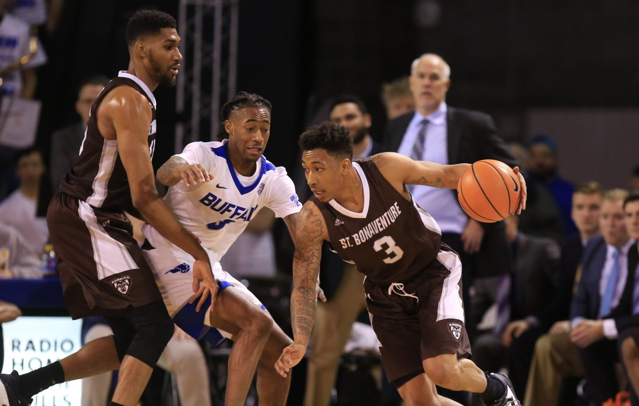St. Bonaventure's basketball team, shown here in a file photo, lost on Wednesday. (Harry Scull Jr./Buffalo News)