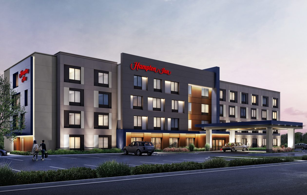 A rendering of the Hampton by Hilton hotel planned for a site near Amherst's Northtown Center. An architect for Uniland Development Co. said the company has made modifications to this concept. The company is seeking tax breaks from the Amherst Industrial Development Agency for the project. (Image courtesy of Uniland Development Co.)