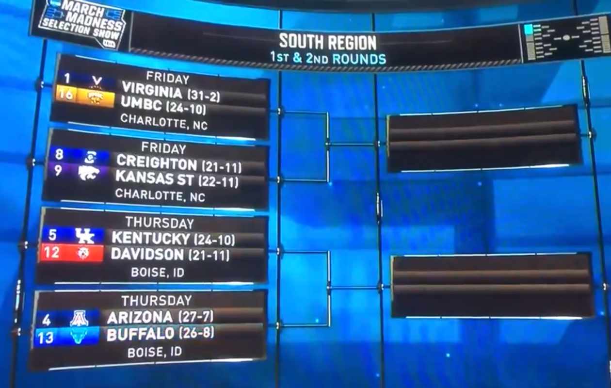 A screenshot from TBS' NCAA Selection Show.
