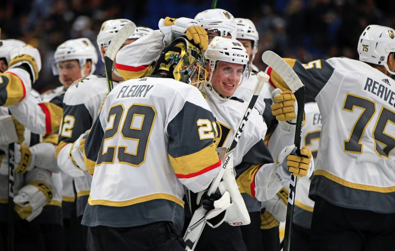 Shootout hero Erik Haula greets goalie Marc-Andre Fleury after the Golden Knights' victory (Harry Scull Jr./Buffalo News).