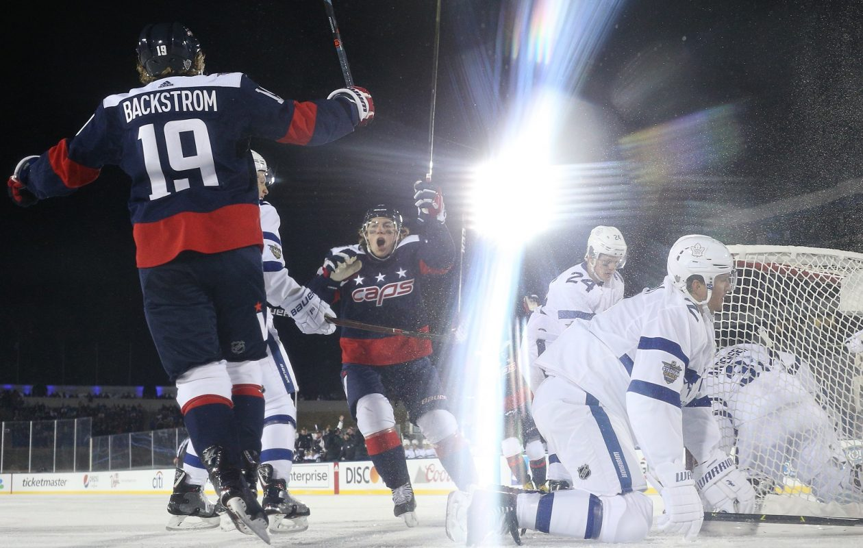 Hockey fans caused a ruckus when NBC moved the conclusion of the Washington Capitals vs. Toronto Maple Leafs outdoor game to a sister network. (Patrick Smith/Getty Images)