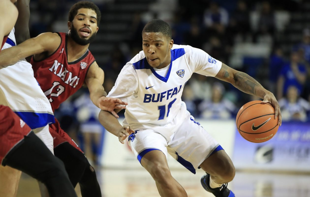 University at Buffalo guard Wes Clark dribbles against Miami during second half action at Alumni Arena on Saturday, Jan. 13, 2018. (Harry Scull Jr./ Buffalo News)