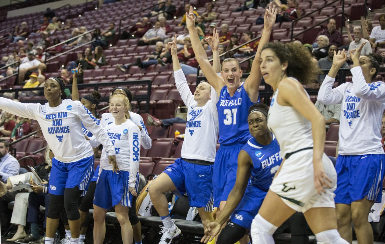 Buffalo center Cassie Oursler (31) and the rest of her team celebrate a three-point shot in the second half of their 102-79 victory over the South Florida Bulls. (Mark Wallheiser/University at Buffalo)