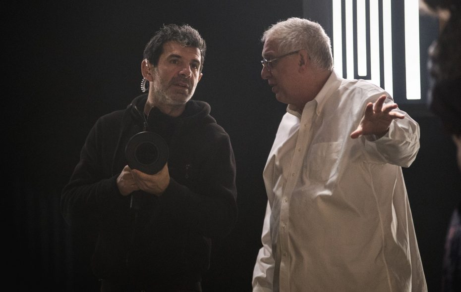 "Director of Photographer Igor Martinovic, left, and director Errol Morris on the set of ""Wormwood."" (Nicole Rivelli/Netflix)"
