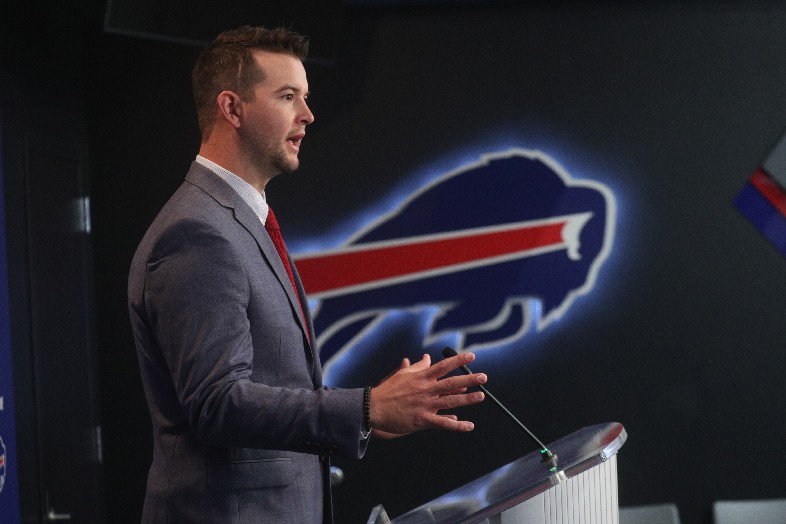 AJ McCarrron meets the media after signing with the Bills (John Hickey/Buffalo News)